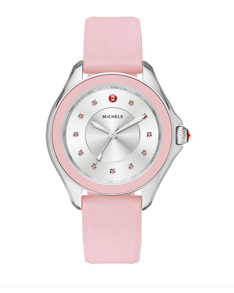 MICHELE Cape Topaz Watch w/Silicone Strap, Pink