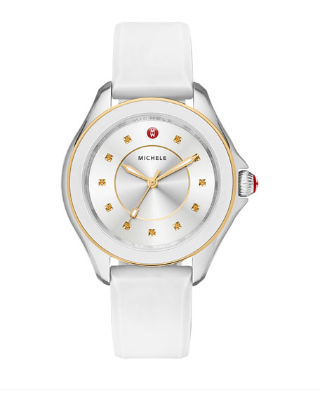 Cape Topaz Watch w/Silicone Strap, White/Golden