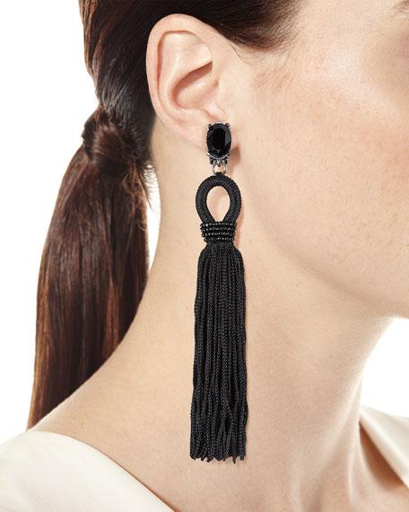 Long Crystal Loop Tassel Clip Earrings, Black