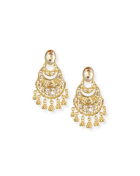 Golden Crystal Filigree Drop Earrings