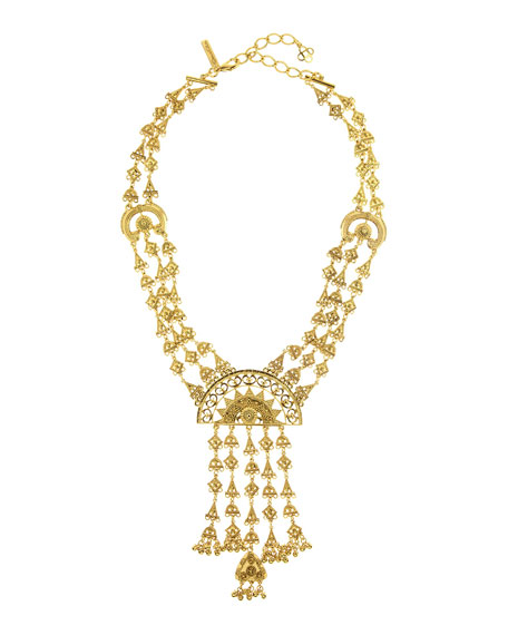 Oscar de la Renta Ornate Golden Charm Necklace