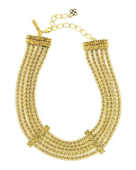 Multi-Strand Golden Chain Necklace