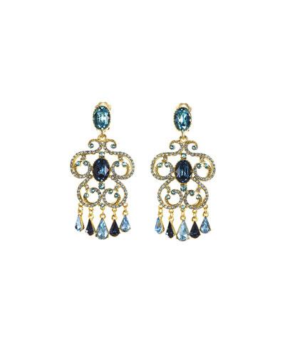 Pavé Crystal Scroll Clip-On Earrings, Blue