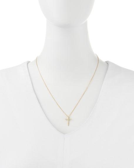 18k Yellow Gold Diamond Cross Necklace