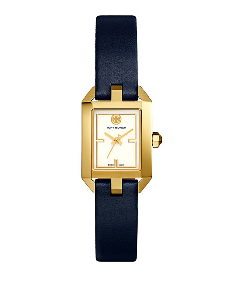 Tory Burch Dalloway Leather Strap Watch, Tory Navy