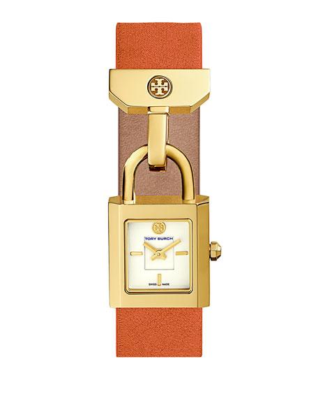 Tory Burch Surrey Leather Padlock Watch, Orange