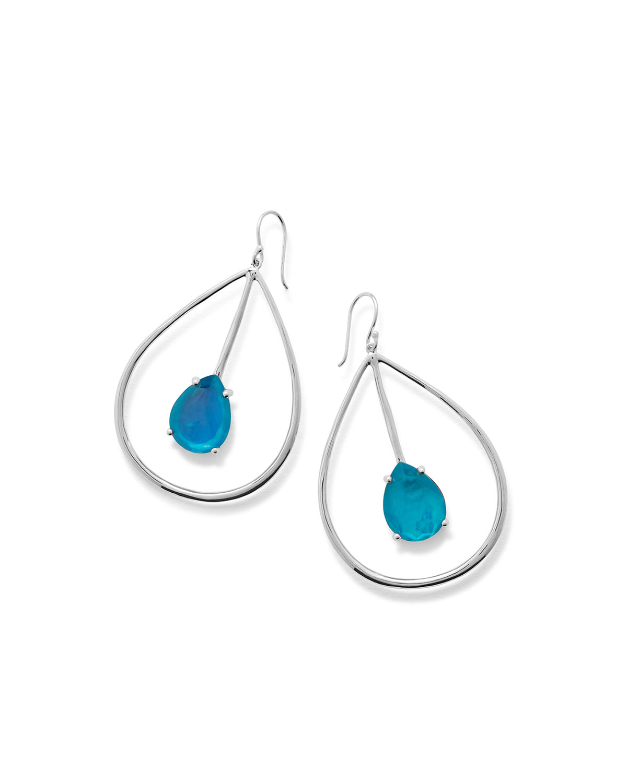 925 Wonderland Large Pear Drop Earrings Bright Blue
