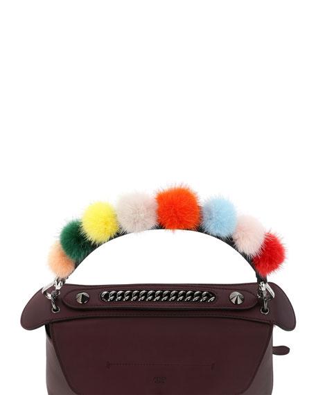 Strap You Mini Fur Pompom Shoulder Strap for Handbag, Black/Multi