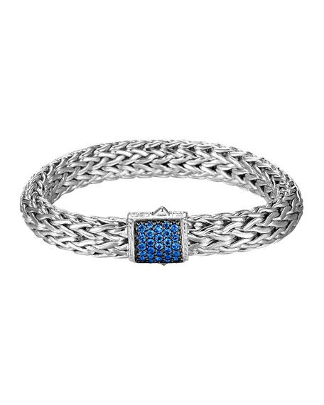 Silver Classic Chain Bracelet w/ Pave Clasp, Size L