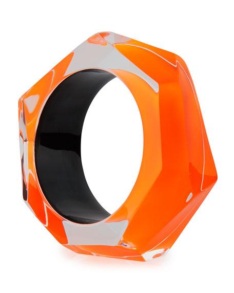 Faceted Lucite Bangle Bracelet, Orange