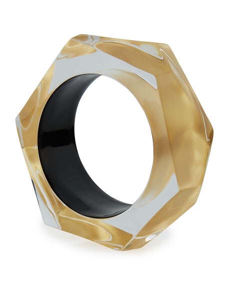 Faceted Lucite Bangle Bracelet, Golden