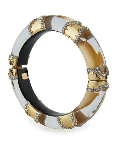 Metal Pavé Lucite Bracelet, Golden