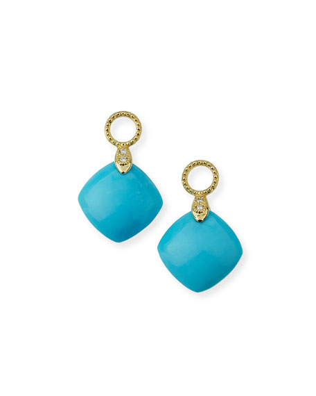 Jude Frances Lisse 18K Turquoise Cushion Earring Charms