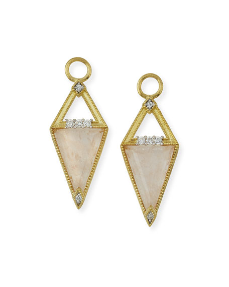 Lisse 18K Small Morganite Trillion Earring Charms with Diamonds