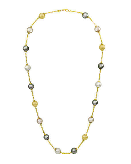 Pearl Necklace, 18K Gold Over Sterling Silver Multicolor Organic Man Made Pearl Illusion, Gold/ Champagne