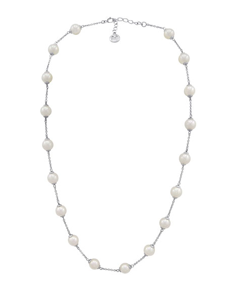 8mm Simulated Pearl Station Necklace, 16""