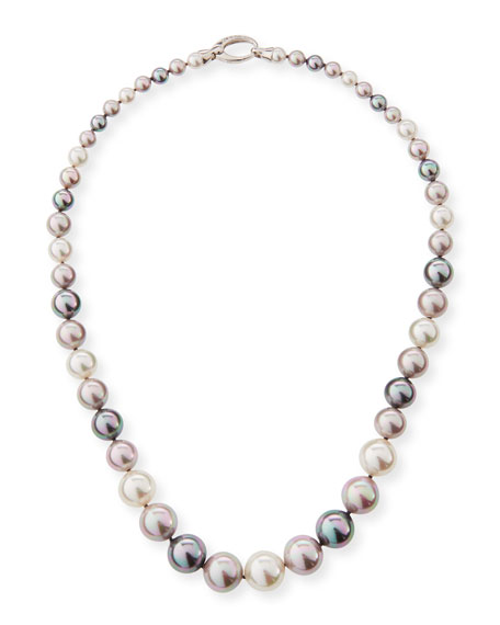 """Graduated White, Gray & Nuage Pearl Necklace, 36"""""""