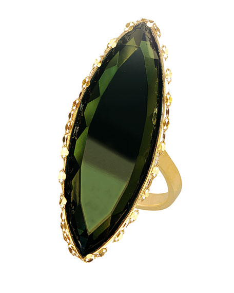LANA 14K Midnight Marquise Ring, Dark Green