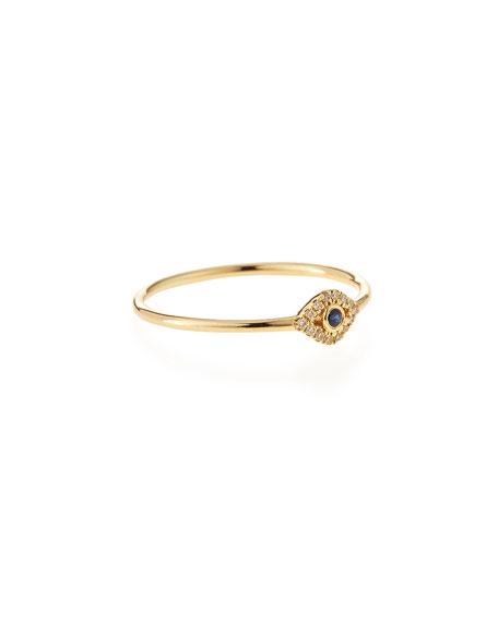 14k Gold Small Diamond Evil Eye Ring, Size 6.5