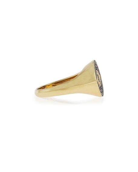 Medium Brown Diamond Evil Eye Ring, Size 6.5