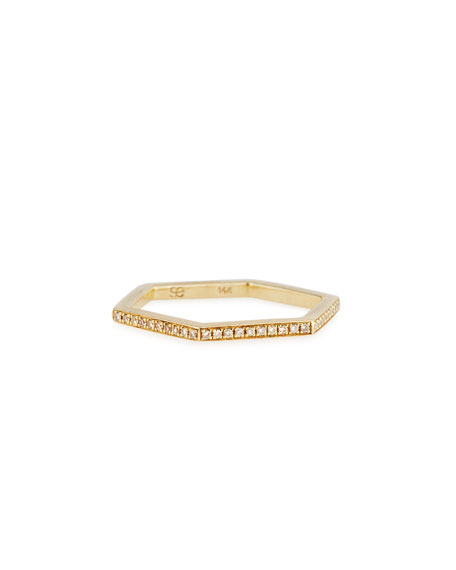 Hexagon Diamond Stacking Ring, Size 6