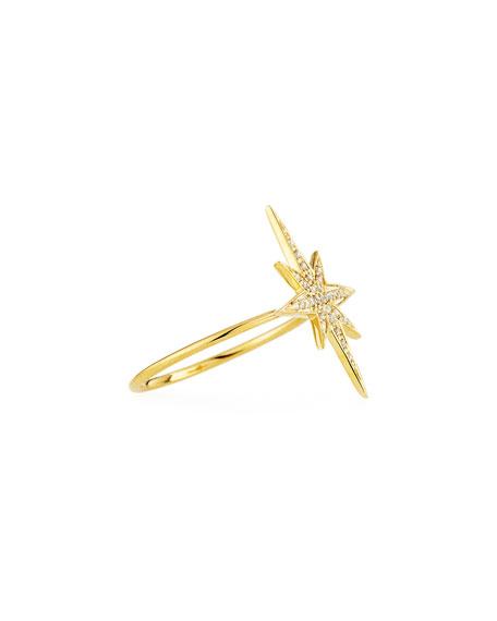 Medium 14K Yellow Gold Diamond Starburst Ring, Size 6.5