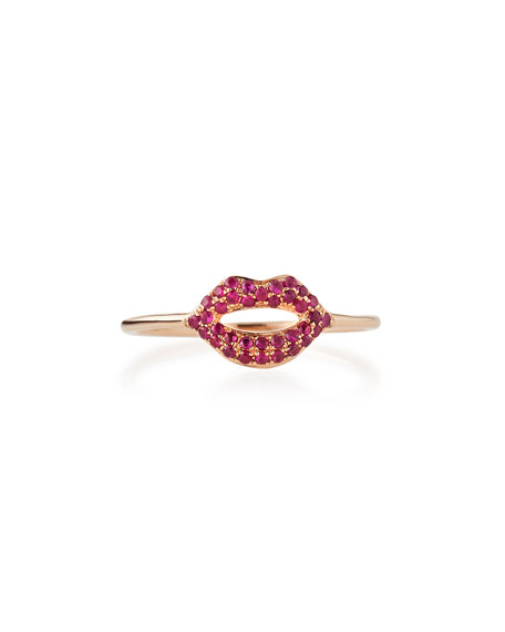 14k Rose Gold Ruby Lips Ring