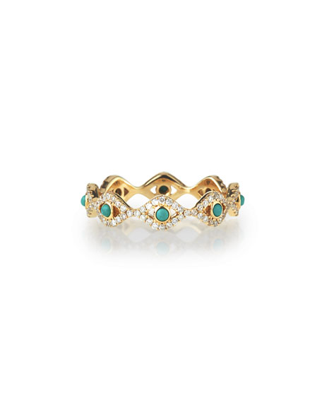 Turquoise Cabochon & Diamond Evil Eye Eternity Ring