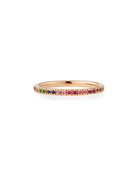 Sydney Evan 14k Rose Gold Rainbow Ring