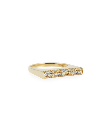 PavÉ Diamond Bar Roll Ring, Size 6.5 in Gold
