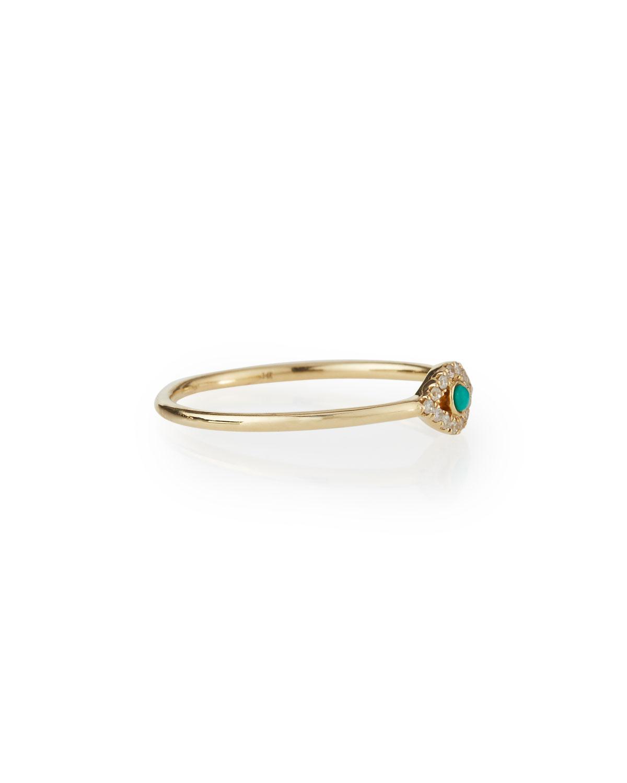 Sydney Evan Single Turquoise Cabochon Evil Eye Ring w/Diamonds oXYEL0bt