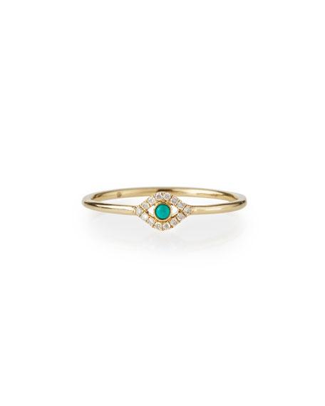 Sydney Evan Single Turquoise Cabochon Evil Eye Ring