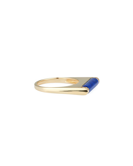 Lapis Roll Bar Ring with Diamonds, Size 6.5