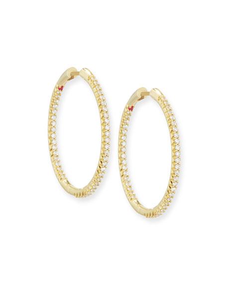 30mm Micro Pavé Diamond Hoop Earrings in 18K Yellow Gold