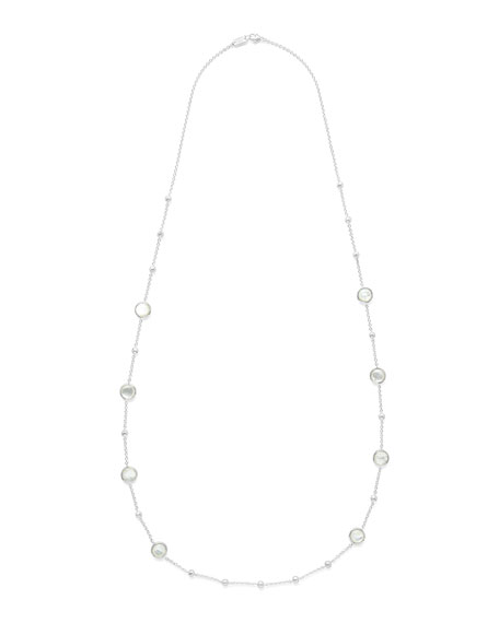 """Rock Candy Ball and Stone Station Necklace in Mother-of-Pearl, 38"""""""