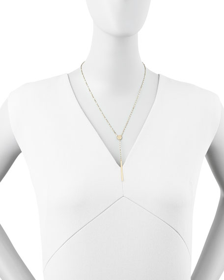 """14k Gold Chime Lariat Necklace, 17""""L"""