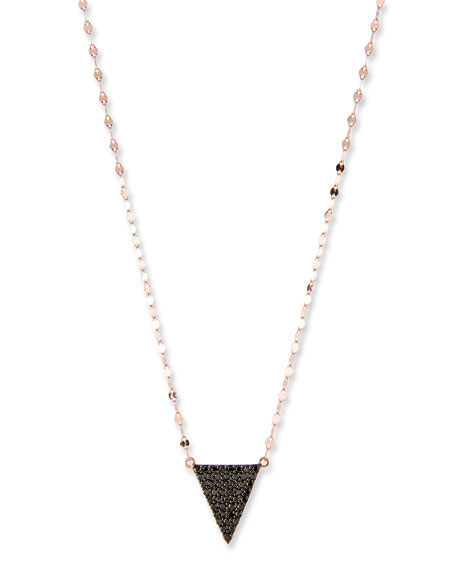 LANA Reckless Black Diamond Triangle Necklace in 14K