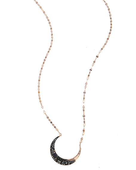 LANA Reckless Black Diamond Crescent Necklace in 14K