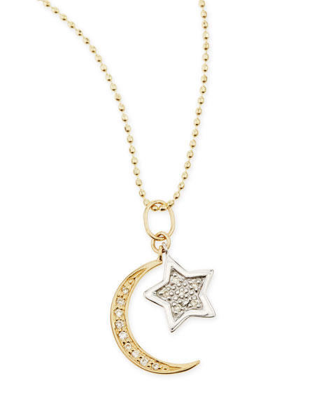 SYDNEY EVAN 14K Yellow Gold Moon, White Gold Star Necklace With Diamonds