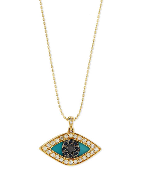 Diamond Evil Eye Swivel Pendant Necklace and Matching