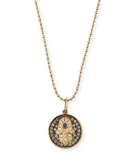Sydney Evan Small Diamond Hamsa Necklace w/Blue Sapphire
