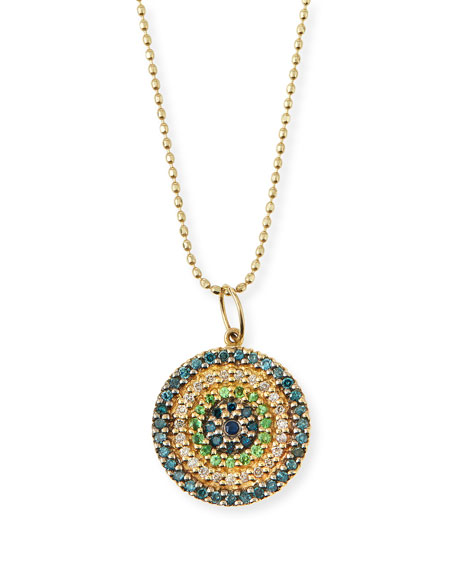 Sydney Evan Concentric Eye Diamond & Sapphire Necklace