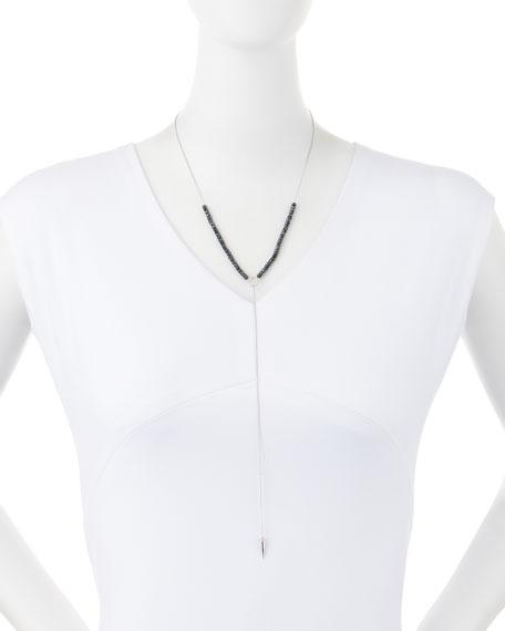 Black Spinel Lariat Necklace