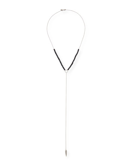 Black Spinel Lariat Necklace