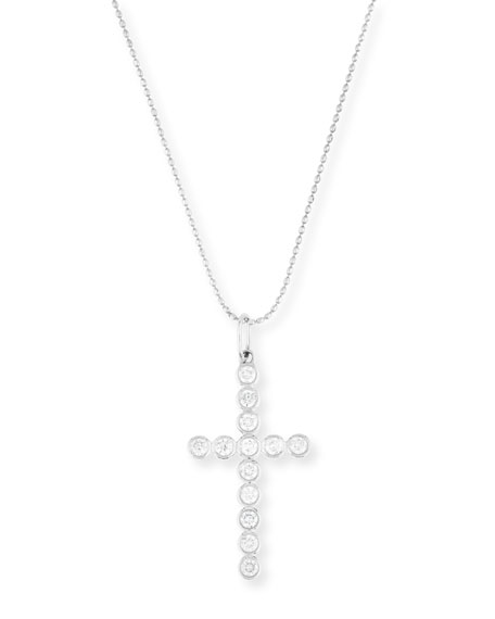 14K Gold Bezel-Set Diamond Cross Charm Necklace