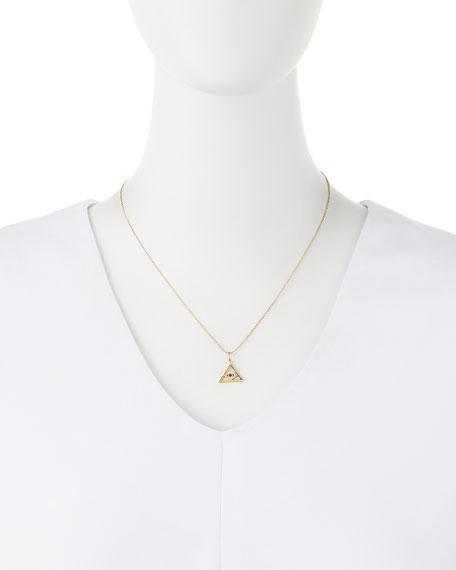 14k Gold Evil Eye Pyramid Pendant Necklace