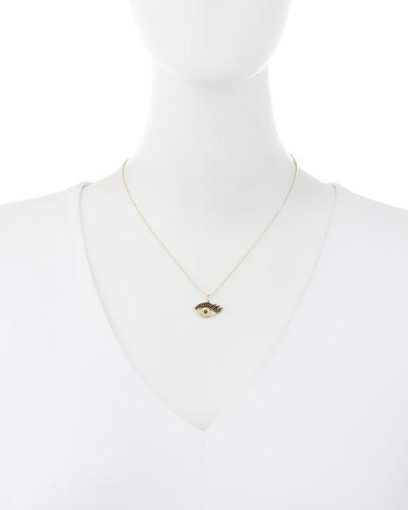 14K Gold Eyelash Eye Pendant Necklace with Diamonds