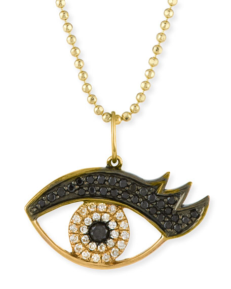 Sydney Evan 14K Gold Eyelash Eye Pendant Necklace