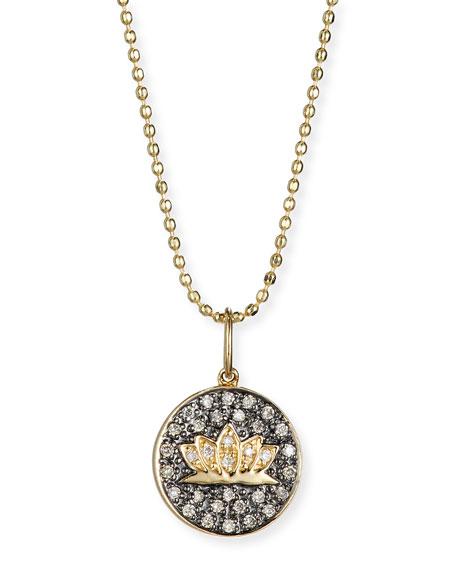 Lotus Medallion Necklace with Diamonds