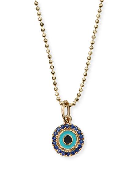 Turquoise Enamel Evil Eye Pendant Necklace